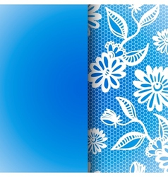 Blue seamless floral vintage lace background vector image