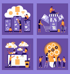 business people building a new idea vector image