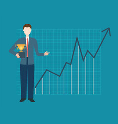 businessman is holding trophy vector image