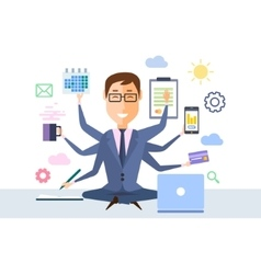 Businessman With Multitasking vector image