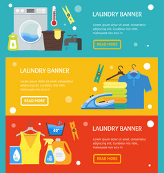 cartoon laundry banner horizontal set vector image