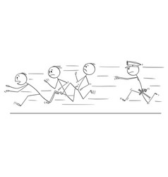 cartoon of group of men or businessmen running vector image
