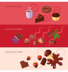 Chocolate flat banners vector