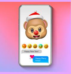 christmas emoji monkey in santas hat holiday vector image