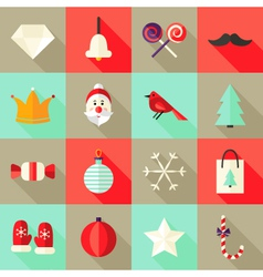 Christmas Square Flat Icons Set 1 Red and Mint vector image