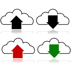 Cloud upload and download vector image vector image