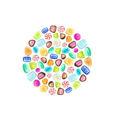 colorful sweetmeats in circular shape candy shop vector image