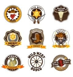 Cowboy labels set vector