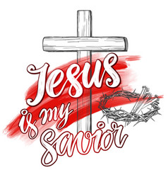Crown of thorns nails easter jesus is my savior vector