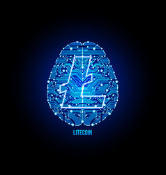 crypto currency lightcoin on brain background vector image