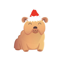 cute dog in red santas hat christmas puppy winter vector image