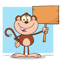 Cute monkey character holding up a blank wood sign vector