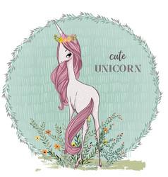 cute pink unicorn vector image