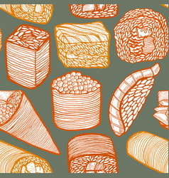 dark colored sushi pattern in hand-drawn style vector image
