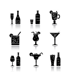 Drinks drop shadow black glyph icons set alcohol vector