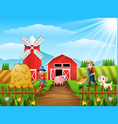 Farming activities on farms with animals in front vector