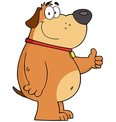 Fat Dog Showing Thumbs Up vector image