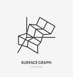financial analysis flat logo surface chart graph vector image
