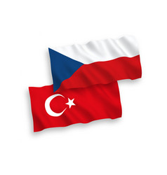 Flags turkey and czech republic on a white vector