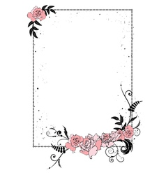 floral frame with chain vector image