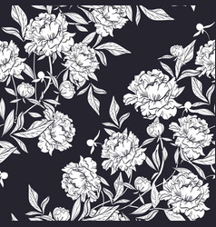 Floral pattern with elegant peony flowers buds and vector