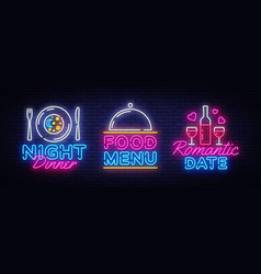 food night set neon sing label and logo romantic vector image