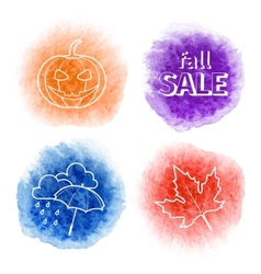 Four icons on the background of autumn watercolor vector