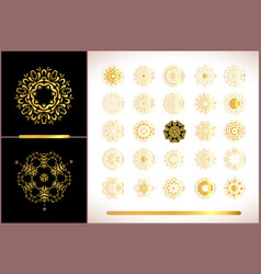 Gold mandala on white background ethnic vintage vector