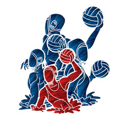 group water polo players action cartoon vector image