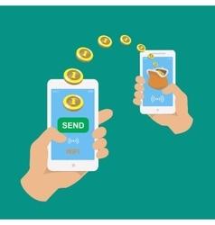 Hands holding smartphones Banking payment apps vector