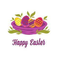 Happy easter isolated icon colored eggs in nest vector