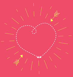 heart on a pink background in rays sun vector image
