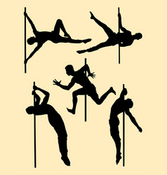 hot male pole dance silhouette vector image