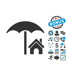 House under Umbrella Flat Icon with Bonus vector image