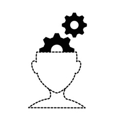 human profile with gears vector image