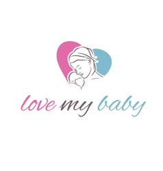 Icon mother and her baby in shape heart vector