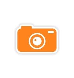 Icon sticker realistic design on paper camera vector