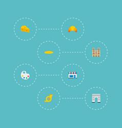 icons flat style triumphal arch baguette notre vector image