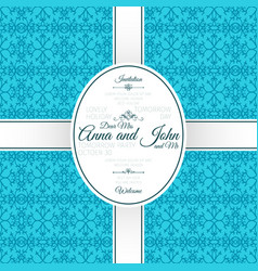 Invitation card with blue arabic pattern vector