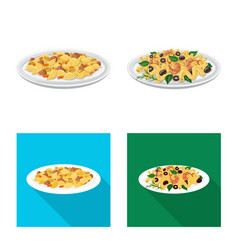 Isolated object of pasta and carbohydrate sign vector