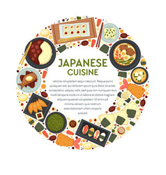 japanese cuisine menu sushi and seafood food of vector image