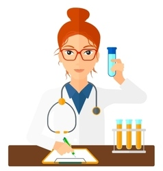 Laboratory assistant working vector image