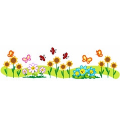 line of flowers vector image