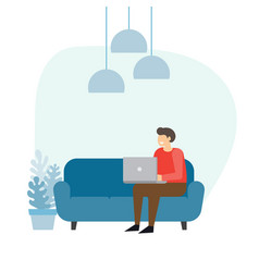 Man on the sofa with laptop businessman work at vector