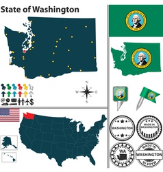 Map of Washington vector