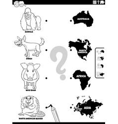 Match animals and continents color book page vector