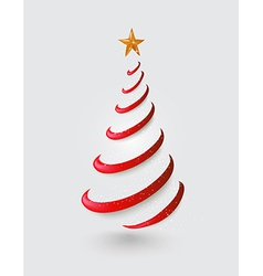Merry Christmas abstract red tree greeting card vector