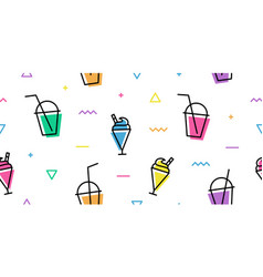 milkshake cup memphis colorful outline line art vector image
