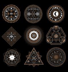Mystic circle symbol isolated on dark background vector