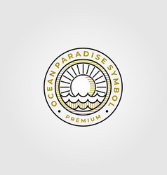 ocean paradise line art logo symbol design vector image
